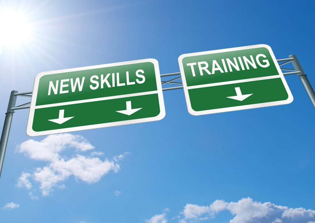 "Signs saying ""New Skills"" and ""Training"""